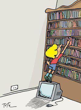 libros sobre el televisor