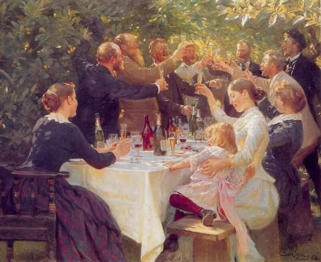 Brindis PS_Krøyer_-_Hip_hip_hurra!_Kunstnerfest_på_Skagen_1888