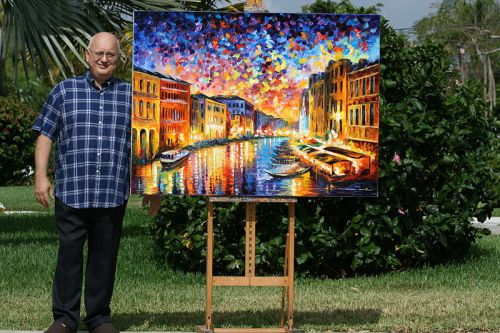 Leonid_Afremov_with_his_painting_Venice_Grand_Canal_2009